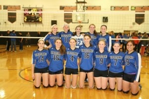 Varsity volleyball wins to advance to regional championship.  (Photo courtesy of Sharon DiPalo)