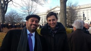 Rabbi Brent and Allison Spodek in front of the Treasury building next to the White House