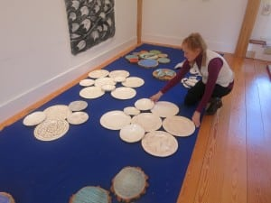 Stacey Farley with some of her work