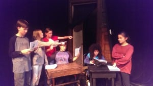 In rehearsal for The Trial of the Big Bad Wolf