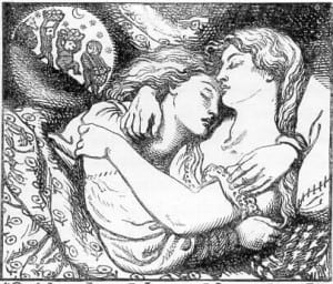 Woodblock print by Dante Gabriel Rossetti, frontispiece tin the first edition of Goblin Market and Other Poems by Christina Rossetti (1862)