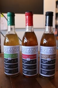 The More Good line of Soda Syrups: Ginger Ale, Cassia Kreme and Root Beer.