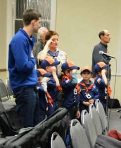 Cub Scouts open the Town Board meeting by leading the Pledge of Allegiance.
