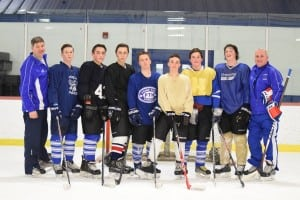 Haldane's hockey squad (left to right): Head coach Mike Grean, Danny Heitmann, Mike Harmancin, Jacob Cox, Ramsey Heitmann, Luke Junjulas, James Sherman, Joe Orza, assistant coach Pete Gianatiempo (Absent: Anthony Percacciola)