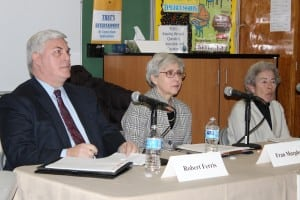 Bob Ferris, Fran Murphy and Marie Early at the Philipstown.info forum in early March (file photo)