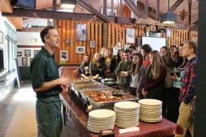 Mike Gasparri of the Taconic Outdoor Education Center explains each of the international lunch offerings to hungry Haldane students at Immersion Day 2015.