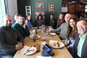 Haldane language department teaching staff, including Nina Ortiz, second from right, and Phil D'Amato, third from right, along with guest presenters, enjoying lunch at Immersion Day 2015