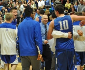 Haldane boys celebrate their win over Chester March 10.