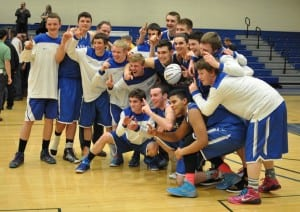 Haldane players celebrate Class C regional final win over Stony Brook March 13.