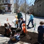 Arbor Day participants spread mulch around the first tree.