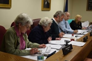 Newly elected trustees Fran Murphy, left, Marie Early and Mayor Dave Merandy, along with incumbent trustees Michael Bowman and Cathryn Fadde, got down to business at the first meeting of the newly constituted Cold Spring Village Board held on April 7. (Photo by M. Turton)
