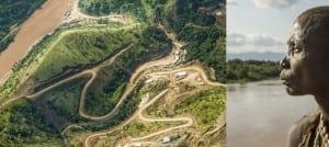 Ethiopia:OmoRiverBasin,GibeIIIDamconstruction(aerialpiconleftofdiptych)+ Ethiopia:OmoRiverBasin,KaroWoman