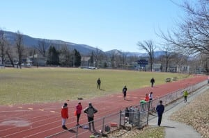 Haldane track and field practice sometimes takes place at Beacon High School. (Photo by P. Farrell)