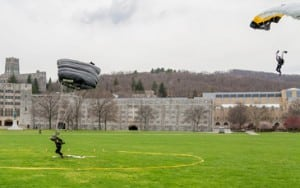Members of the U.S. Military Academy Black Knights Parachute team jump during the 2014 Inter-Service Academy Meet.