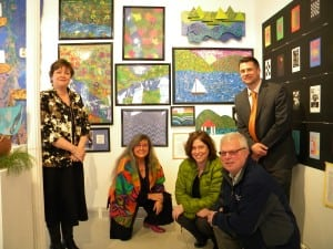 "Haldane Superintendent Diana Bowers, left, art teacher Jean Cendali, special ed director Jen Wilson, facilities director Mike Twardy, and Elementary School Principal Brent Harrington at the Garrison Art Center opening of ""Rollin' on the River"""