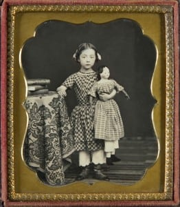 Standing Girl With Large Doll, 19th-century sixth-plate daguerreotype
