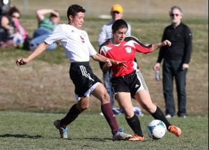 Daggers defender Teresa Figueiras denies a Kingston United player in a 5-2 Dagger victory on Sunday, April 12.