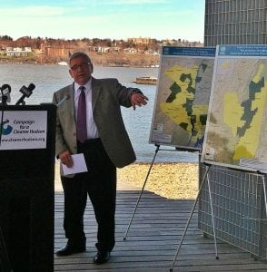 Beacon Mayor Randy Casale speaks at the Campaign for a Cleaner Hudson press conference at Long Dock Park on April 15. Photo by B. Cronin
