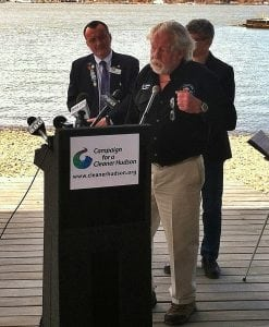 Gil Hawkins, president of the Hudson Valley Fishermen's Association, speaks at the Campaign for a Cleaner Hudson press conference on April 15 in Beacon.