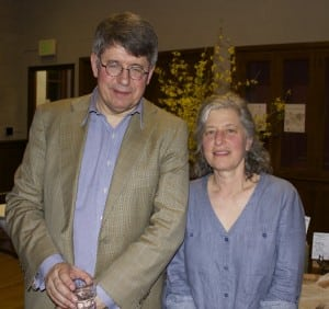 Nicholas Groombridge and Shelley Boris at Garrison Institute's Earth Day dinner and talk (Photo by K.E. Foley)