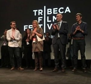 Ivy Meeropol (center) at a screening of Indian Point at the Tribeca Film Festival.