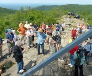 Pete Seeger arrives at the rededication ceremony of the Beacon Fire Tower on June 22, 2013.
