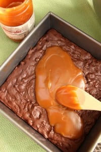 Turn out crunchy, gooey and chewy brownies with a layer of salted caramel sauce.