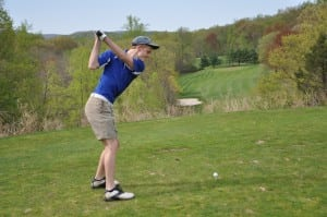 Haldane's Eric Rizzi tees off against Beacon High School at the Garrison Golf Club on Wednesday, May 6 (Photo by Peter Farrell)