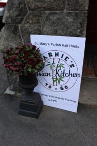 The signboard outside of St. Mary's Parish Hall alerts fans of Asian food to the arrival of Marnie's Asian Kitchen to Go.