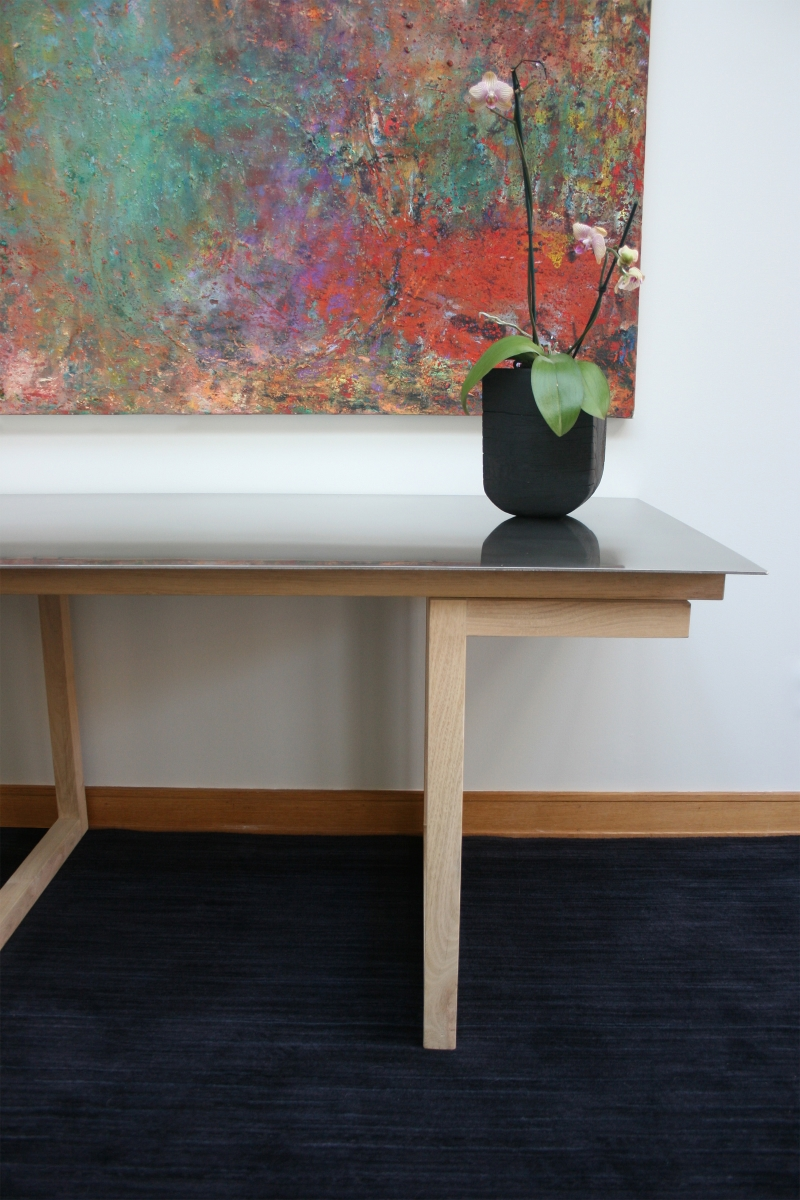 Ptacek B. Stainless Table w Painting