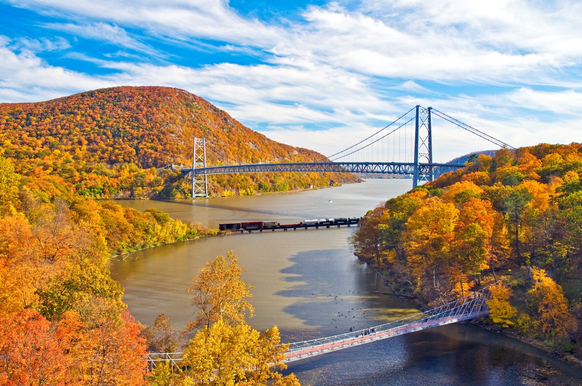 Red Circle Phil Haber Bear Mountain Bridge in Fall