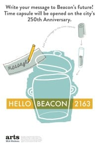 An invitation to speak to those living 150 years from now: a sign for the HELLO BEACON 2163 time capsule