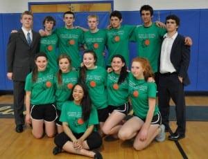 AlexGariepy,frontcenter,andherjunior-yearclassmatesafterthefacultyvs.studentsbasketballfundraiseratHaldaneonFriday,May1