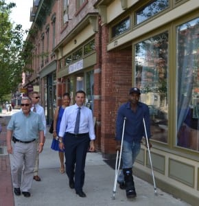 Beacon mayor Randy Casale, Deputy Commissioner of Strategic Planning and Economic Development Ron Hicks, Dutchess County Legislator April Farley, Dutchess County Executive Marc Molinaro and Beacon Councilman Ali Muhammad take a stroll down Beacon's Main Street.