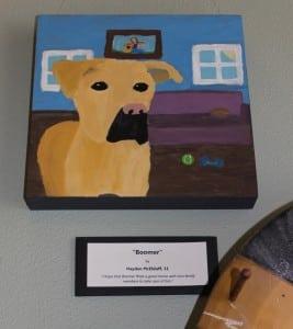 "HaydenMcElduff,age11,painted ""Boomer,""andnoted,'IhopethatBoomerfindsagoodhomewithnicefamilymemberstotakecareofhim.'"