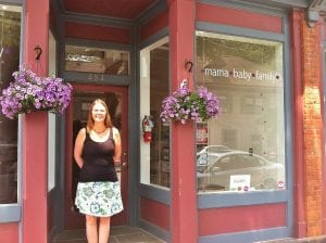 Store owner Jenn Sullivan outside the new Beacon location of Waddle n Swaddle (Photo by B. Cronin)