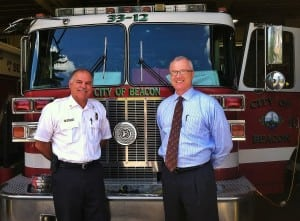 Beacon Fire Chief Gary Van Voorhis and City Administrator Anthony Ruggiero. Photo by B. Cronin