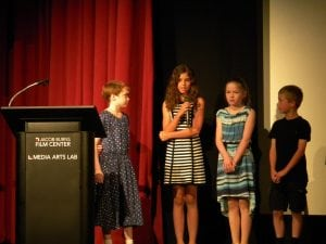 Haldane fourth-graders answer questions about the films they created at the premiere at Jacob Burns Film Center June 3.