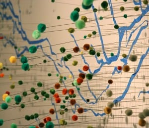 Detail from Impaired Waters Lower Hudson River,  part of an installation by Suzan Shutan