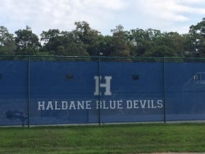 Haldane's new windscreen for the tennis courts