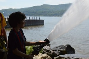 Junior firefighters had the chance to spray real fire hoses into the Hudson River.