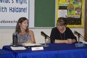 Haldane school board president Jen Daly and Superintendent Diana Bowers (Photo by K.E. Foley)