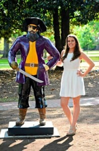 Kelly Semple standing next to East Carolina University's mascot, Pee Dee the Pirate (Photo provided)