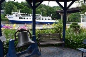 The Rip Van Winkle offers two-hour cruises twice daily from the dock next to the HRMM. The ship's bell is from the Mary Powell. (Photo by M. Turton)