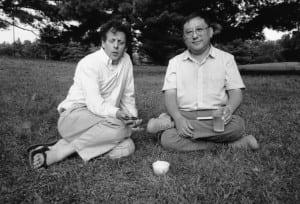 PhilipGlass,left,andGelekRimpoche (PhotobyAllenGinsberg/courtesyofGelekRimpoche)