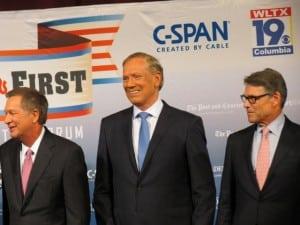 From left, Ohio Gov. John Kasich, Pataki, Texas Gov. Rick Perry