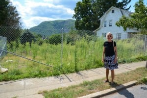 Anne Imellizzeri on the site of the former house