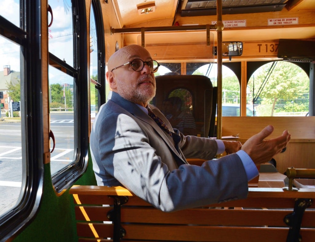 Vincent Tamagna on the trolley