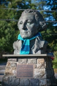 The bust of George Washington on the corner of Route 9D and Teller Avenue gets in on the act. Photo by Michael Kriegh