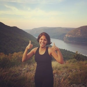 "Karen Kappor posted this photo on Facebook with the caption: ""Two thumbs up for no chemo! Hiked up Sugarloaf to celebrate."""